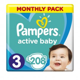 Pampers Active Baby Dry  No3 ( 6-10 Kg) 208Τμχ