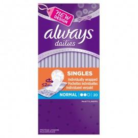 Always Dailies Singles Normal Σερβιετάκια 20τεμ