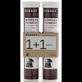 Korres Acerola & Vitamin C Γεύση Πορτοκάλι 1+1, (20+20) Αναβράζοντα Δισκία