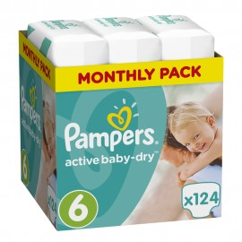 Pampers Monthly Pack Active Baby Dry No.6 (15+ Kg) 124Τμχ
