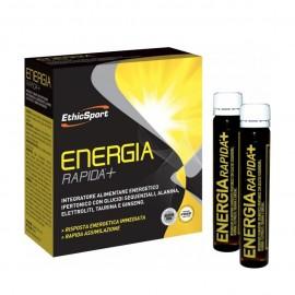 EthicSport Energia Rapida + Συμπλήρωμα με Υδατάνθρακες, Αλανίνη, Ηλεκτρολύτες, Ταυρίνη και Τζίνσενγκ, 10 Φιαλίδια