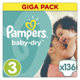 Pampers Baby-Dry Midi Giga Pack No3 (Κιλά 5-9) 136Τμχ