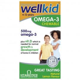 Vitabiotics Wellkid Omega-3 Chewable 500mg, Συμπλήρωμα Διατροφής για Παιδιά με Γεύση Λεμόνι, 60Μασώμενες Κάψουλες