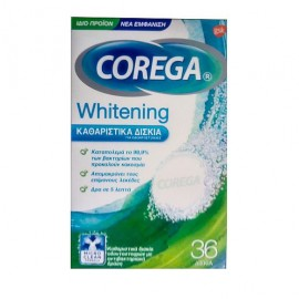 Corega Whitening Καθαριστικά Αναβράζοντα Δισκία Οδοντοστοιχιών 36Τμχ