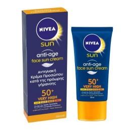Nivea Sun Anti-Age Face Cream SPF50+, Αντηλιακή/Αντιγηραντική Κρέμα Προσώπου 50ml