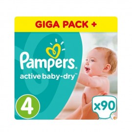 Pampers Active Baby Dry Giant Pack No4 (9-14kg) 90 Τμχ