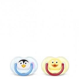 Avent Ορθοδοντική Πιπίλα Σιλικόνης με Ζωάκια, 0-6 μηνών Χωρίς BPA 2Τμχ