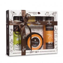 Messinian Spa Shower Gel Fig 300ml + Shampoo All Types 300ml + Face & Body Scrub 250ml