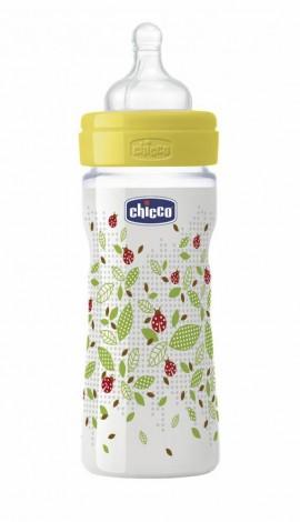 Chicco Μπιμπερό πλαστικό ΘΣ 250ml Ρυθμιζόμενη ροή, Φαρδιά Θηλή, 2m+