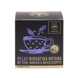 Apivita Organic Herbal Tea Relax, Βιολογικό Τσάϊ με Τίλιο-Βανίλια-Μελισσόχορτο, 10 Φακελάκια x1,5gr