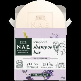 N.A.E. Μπάρα Σαμπουάν καθημερινής χρήσης για κανονικά μαλλιά, Οργανική Πιστοποίηση COSMOS  & Vegan φόρμουλα, 85gr