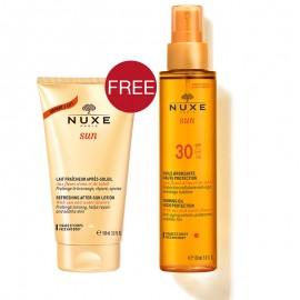 Nuxe Promo Sun Tanning Oil, Λάδι Μαυρίσματος Για Πρόσωπο & Σώμα SPF30 150ml & ΔΩΡΟ Refreshing After Sun Lotion 100ml