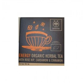 Apivita Organic Herbal Tea Energy, Βιολογικό Τσάϊ με Άγριο Τριαντάφυλλο, Κάρδαμο και Κανέλα 10 Φακελάκια x 1,5gr