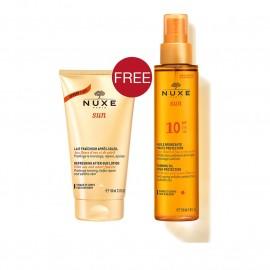Nuxe Promo Sun Tanning Oil, Λάδι Μαυρίσματος Για Πρόσωπο & Σώμα SPF10 150ml & ΔΩΡΟ Refreshing After Sun Lotion 100ml