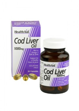 Health Aid Cod Liver Oil 1000mg, Μουρουνέλαιο - Ωμέγα 3, 30 Vegeterian Caps
