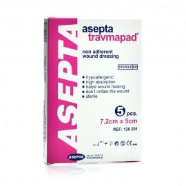 Asepta Travmapad, Επιθέματα Τραύματος Αντικολλητικά 7,2cm x 5cm 5τμχ.