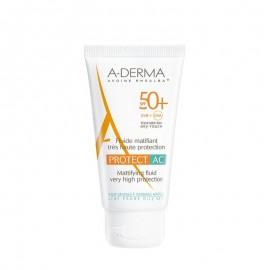 A-Derma Protect AC Fluide Matifiant Visage SPF50+, Αντηλιακή με Ματ Αποτέλεσμα, 40ml