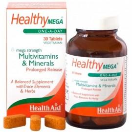Health Aid Healthy Mega Multivitamins & Minerals, Πολυβιταμίνες & Μέταλλα 30Tabs Vegan