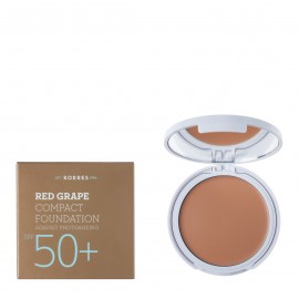 Korres Red Grape Compact Foundation, Light -Ανοιχτή Απόχρωση SPF50+,  Αντηλιακό Make-Up με Κόκκινο Σταφύλι, 8gr