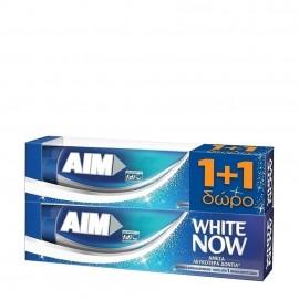 AIM White Now Οδοντόκρεμα για Άμεσα Λευκότερα Δόντια 1+1 ΔΩΡΟ