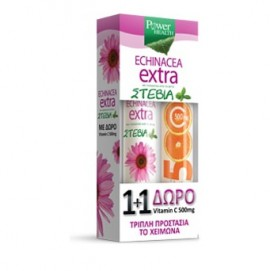 Power Health 1+1, Echinacea Extra με Στέβια 24 Αναβρ.Δισκία & ΔΩΡΟ Vitamin C 500mg 20 Αναβρ.Δισκία