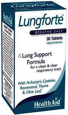 Health Aid Lungforte Συμπλήρωμα Διατροφής για την Υγεία Αναπνευστικού & του Ανοσοποιητικού Συστήματος, 30 tabs