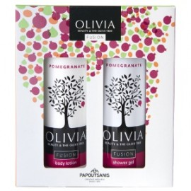 Olivia Fusion Body Gift Set Pomegranate, Αφρόλουτρο-Γαλάκτωμα 2 X 300ml