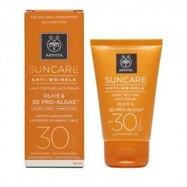Apivita Suncare Anti-Wrinkle Face Cream Light SPF30, Αντιρυτιδική Ελαφριάς Υφής με Ελιά & 3D Pro-Algae 50ml