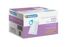 Alfashield Self Adhesive Pad, Αποστειρωμένο Αντικολλητικό Υποαλλεργικό Αυτοκόλλητο Επίθεμα 8cmx12cm 50τμχ