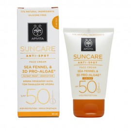 Apivita Suncare Anti-Spot Face Cream SPF50, Κατά των Πανάδων με Χρώμα με Κρίταμο & 3D Pro-Algae 50ml