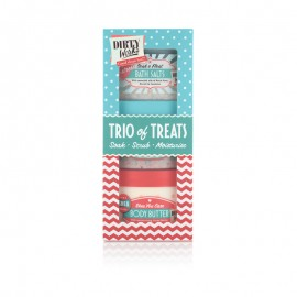 Dirty Works Trio of Treats, Bath Salts 300gr & Buttery Salt Scrub 300ml & Body Butter 300ml