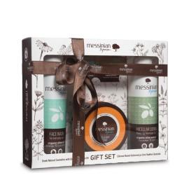 Messinian Spa Micellar Lotion 3in1 300ml+Face Wash (αγγούρι-πορτοκάλι) 300ml+Face & Body Scrub (φραγκόσυκο-δίκταμο) 250ml