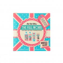 Dirty Works The Full Works, Bath Soak 100ml & Body Butter Light 100ml & Body Scrub 50ml & Body Wash 50ml