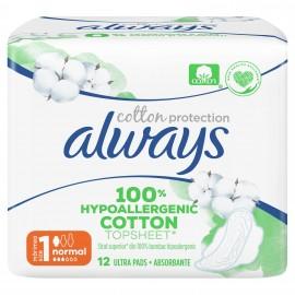 Always Cotton Protection Ultra Normal (μέγεθος 1)  Σερβιέτες Με Φτερά 12 Τμχ